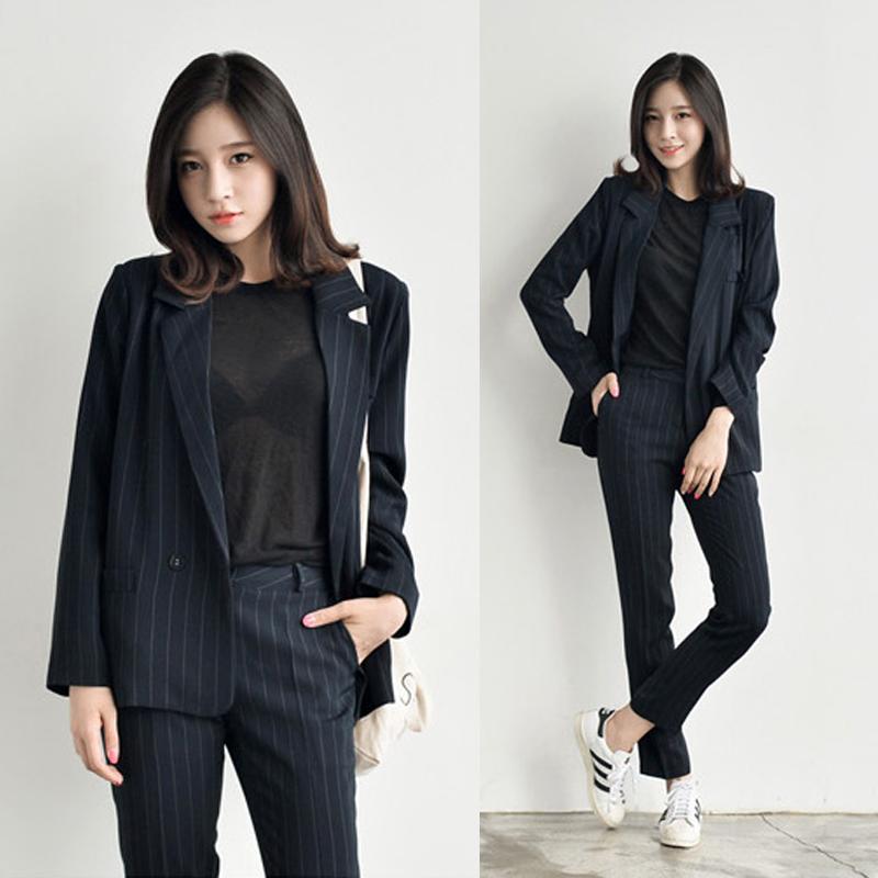 2020年新款秋季韩版西装面试套装女士长袖西服显瘦休闲两件套 女-正青春-