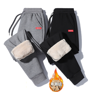 Sports pants men's autumn and winter new lambskin casual pants trousers plus velvet thickened large size guard pants cotton pants