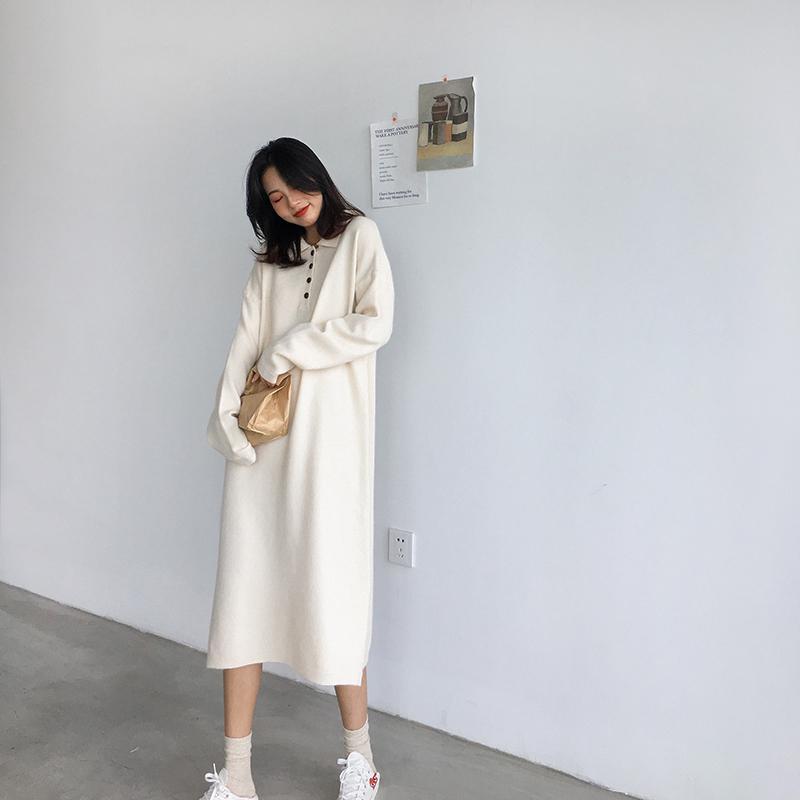 四喜家 秋装长袖连衣裙2018新款纯色宽松复古针织polo长裙