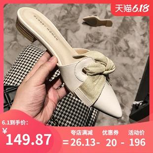 尖头蝴蝶结半拖鞋女2020夏季新款包头平底穆勒鞋外穿沙滩凉拖鞋女