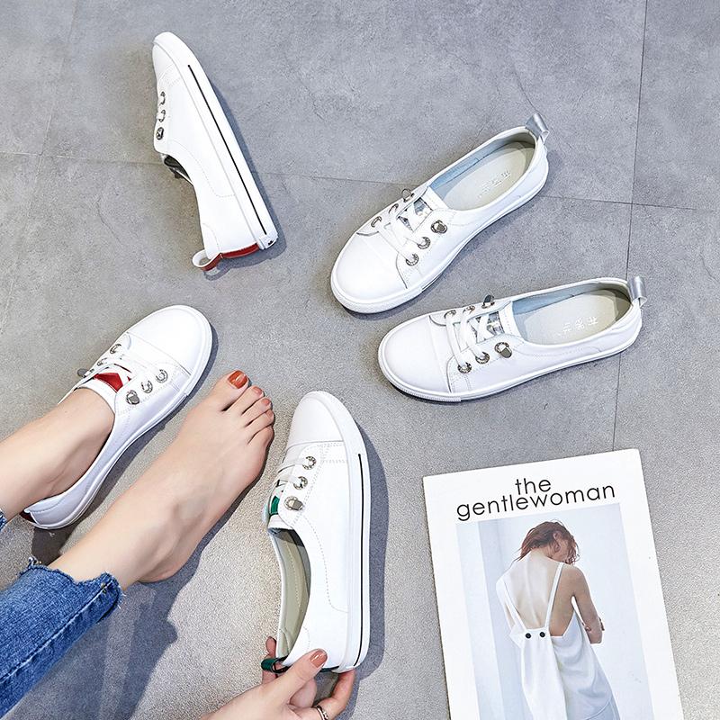 小白鞋女春季2019新款百搭夏款真皮平底学生休闲女鞋一脚蹬懒人鞋