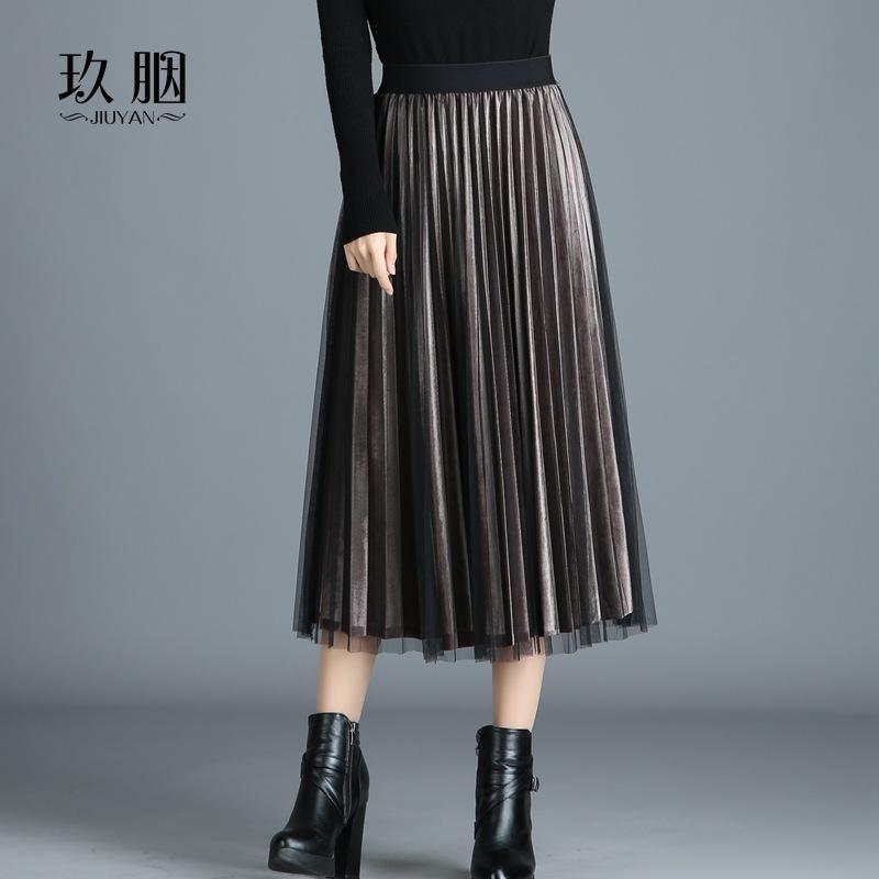 金絲絨百褶裙秋鼕女2017新款韓版網紗半身裙中長款打底鼕裙長裙子