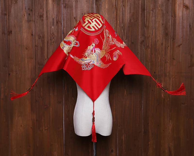红盖头2018新款结婚盖头新娘中式刺绣红色古典秀禾服盖头喜帕流苏图片