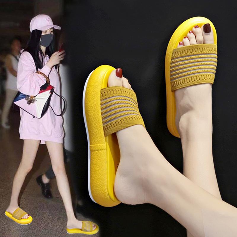拖鞋女外穿2019夏季新款时尚百搭学生厚底网红ins潮运动凉拖