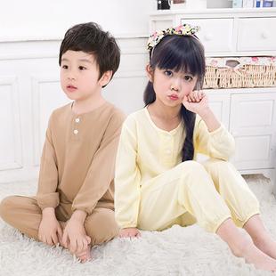 夏季儿童棉绸睡衣男童女童薄款绵绸夏天宝宝小孩子长袖空调服套装