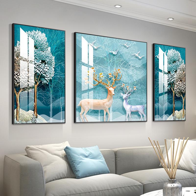 北欧客厅装饰画沙发背景墙装饰壁画现代简约三联画鹿轻奢挂画墙画