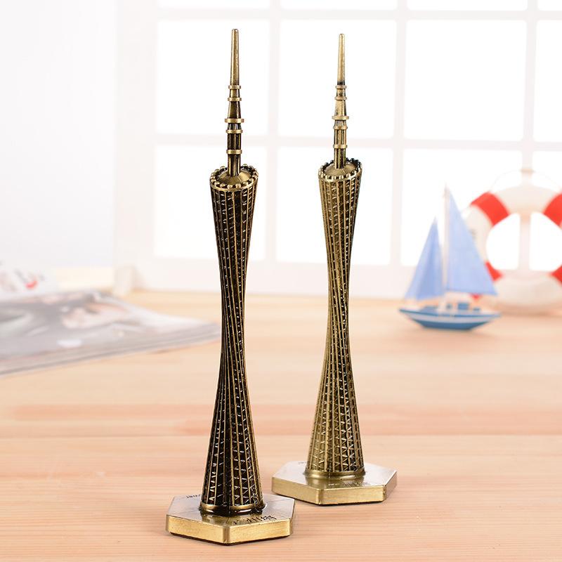 简约现代广州塔模型小蛮腰金属摆件客厅装饰品电视柜旅游纪念礼品