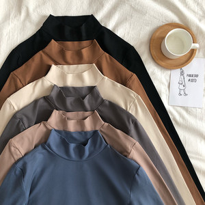 Half turtleneck bottoming shirt autumn and winter plus size women's 200 kg long-sleeved t-shirt Korean version of the thin coat with velvet thickening