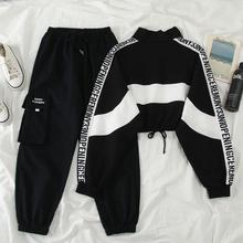 秋新式韩le1ins网en式短式卫衣套装女+工装裤休闲运动两件套