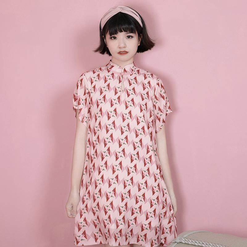 小葱良裁原创自制少女粉色改良盘扣旗袍 中式民国风短袖连衣裙