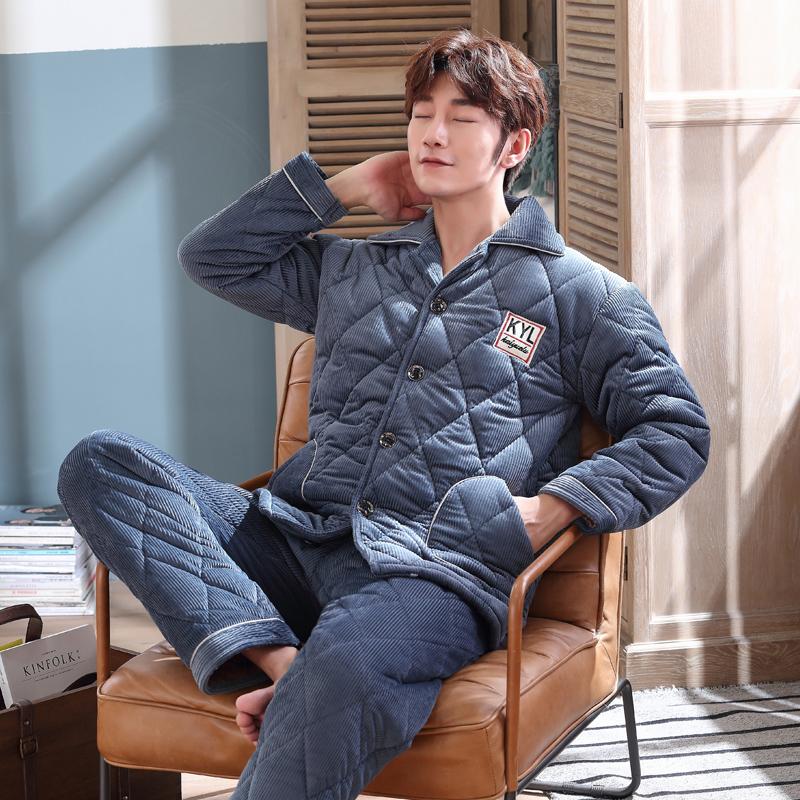 凯�h璐秋冬季男睡衣加厚加绒保暖男士三层加厚夹棉家居服套装9901