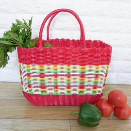 塑料编织收纳菜篮购物手提篮子宠物洗澡洗浴筐买菜野餐水果采摘蓝