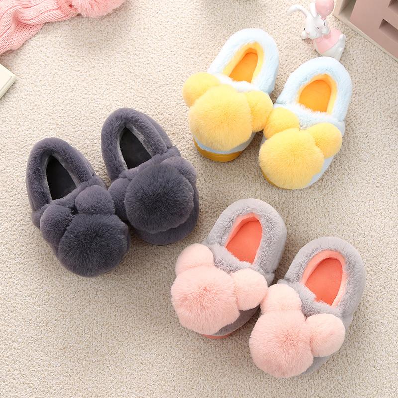 儿童棉拖鞋包跟女童可爱防滑宝宝拖鞋冬季男童毛拖鞋室内亲子棉鞋
