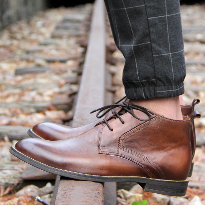KIXSIZE欧美擦色做旧真皮手工沙漠靴 英伦复古高帮皮鞋马丁靴潮男