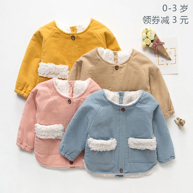 宝宝婴幼儿吃饭夹棉花绒罩衣 男女儿童加厚纯棉长袖反穿衣秋冬季