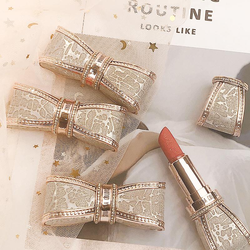 圣诞限定泰国思薇娜蝴蝶结口红小众品牌平价哑光持久高定钻闪设计