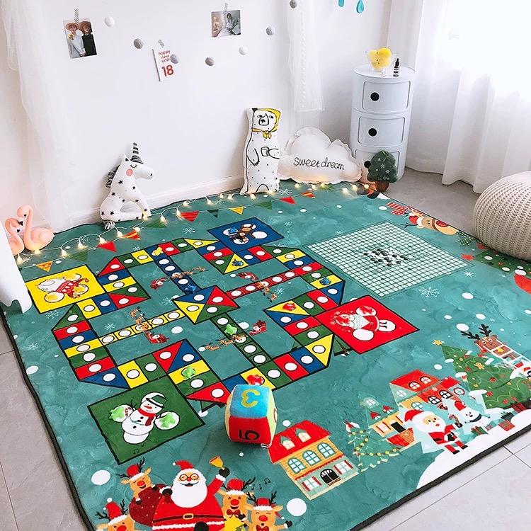 超大号圣诞飞行棋地毯五子棋卡通益智游戏垫儿童爬行地垫爬爬垫