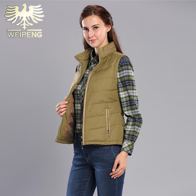 威鹏新款羽绒服女马甲立领冬季女装休闲背心绿色外套加厚款348202