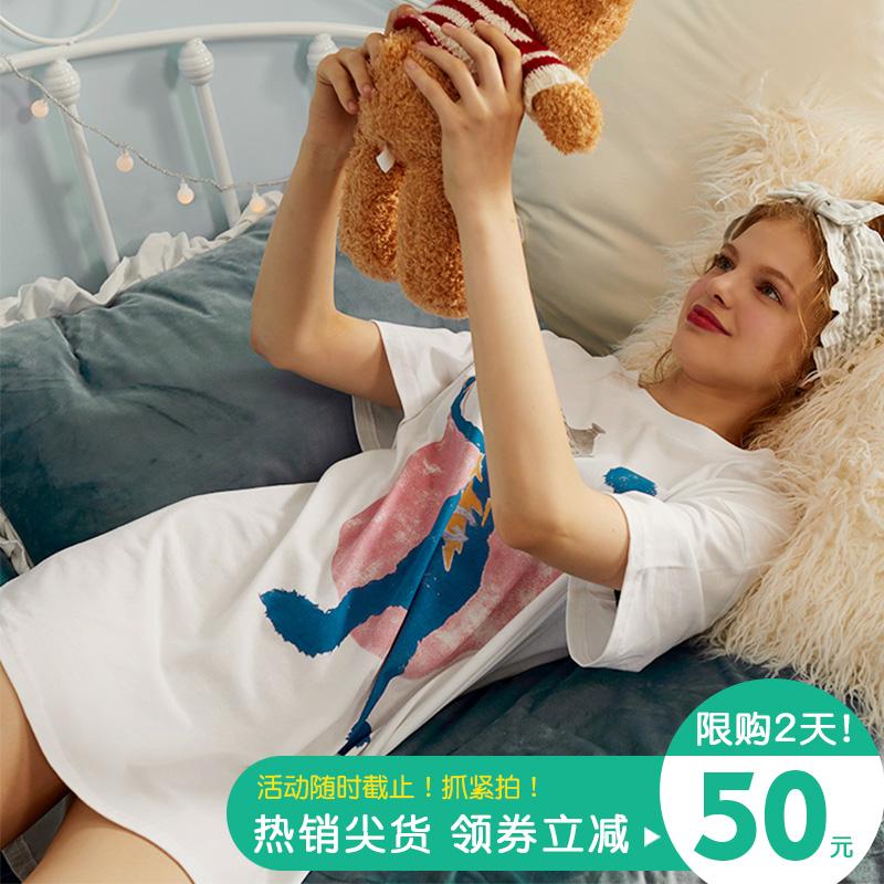 Pinksea睡衣女夏季短袖纯棉宽松大码可爱卡通怪兽可外穿夏天睡裙