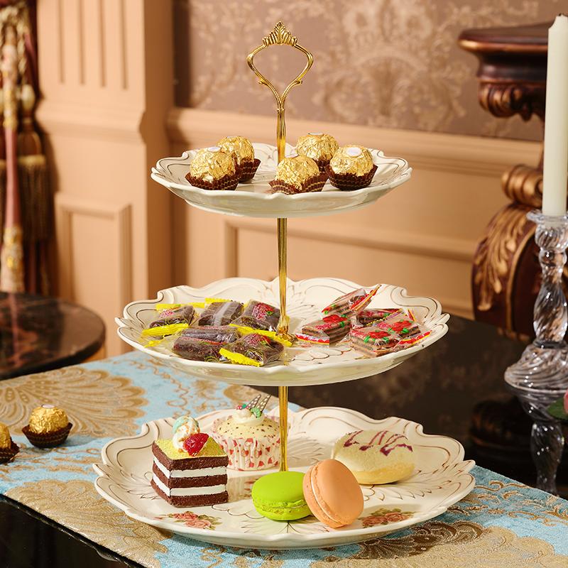 欧式下午茶甜品点心盘三层糕点盘英式陶瓷双层干果水果盘子蛋糕架