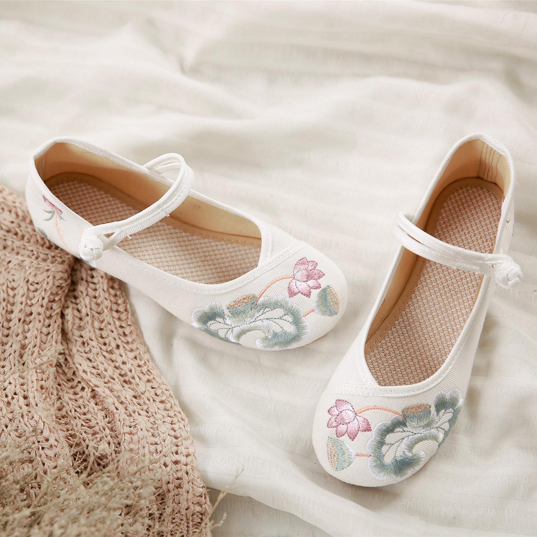 中國風水芙蓉繡花鞋古典水墨風刺繡老北京布鞋荷花蓮花布鞋女單鞋