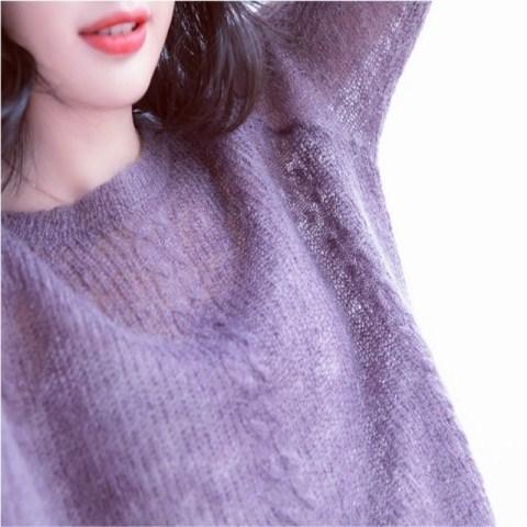 网红马海毛毛衣女薄2018年新款韩版海马毛针织衫慵懒风外套头宽松