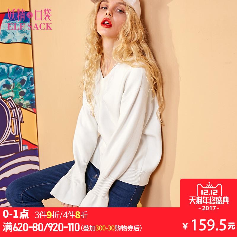 纯色内搭冬装2017新款V领喇叭袖休闲罗纹长袖套头毛衣女-749066