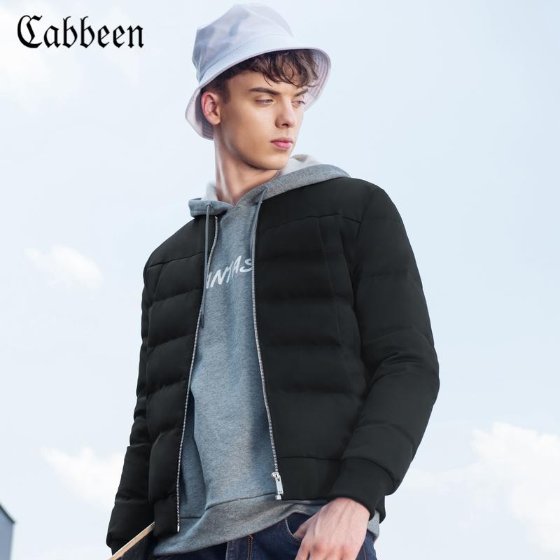 卡宾男装2017新款秋冬季青年休闲羽绒服黑色保暖修身灰鸭绒外套