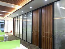 台湾辦公玻璃隔牆黑框鋁合金百葉窗鋼化玻璃隔斷隔音玻璃高隔斷牆