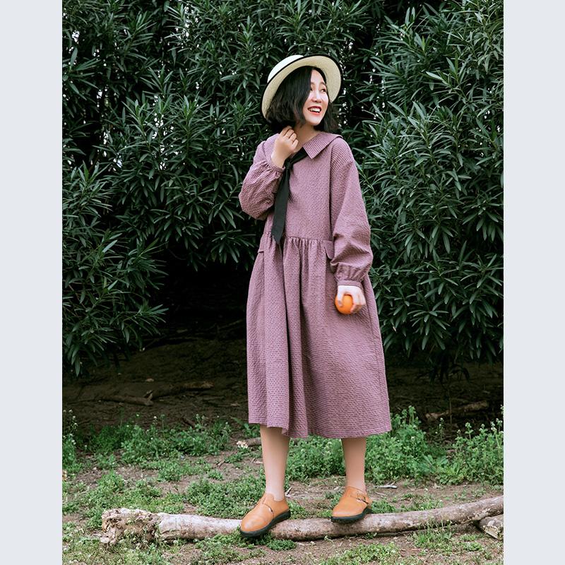 素旧安歌 宽松长裙 2018秋装新款文艺复古小格子长袖娃娃领连衣裙