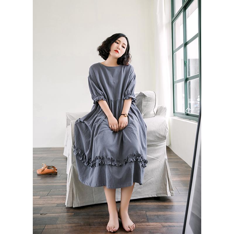 素旧安歌原创设计宽松休闲中长裙 文艺复古纯色A型连衣裙2018夏
