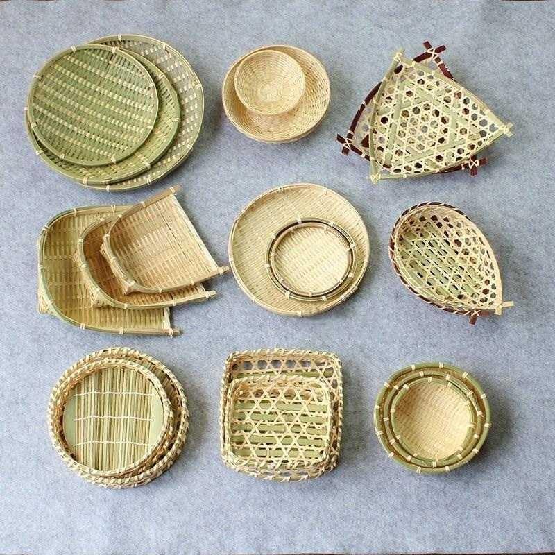 托盘床头柜卫生间筛子农村厨房竹制品竹编家用小簸箕架装饰收纳
