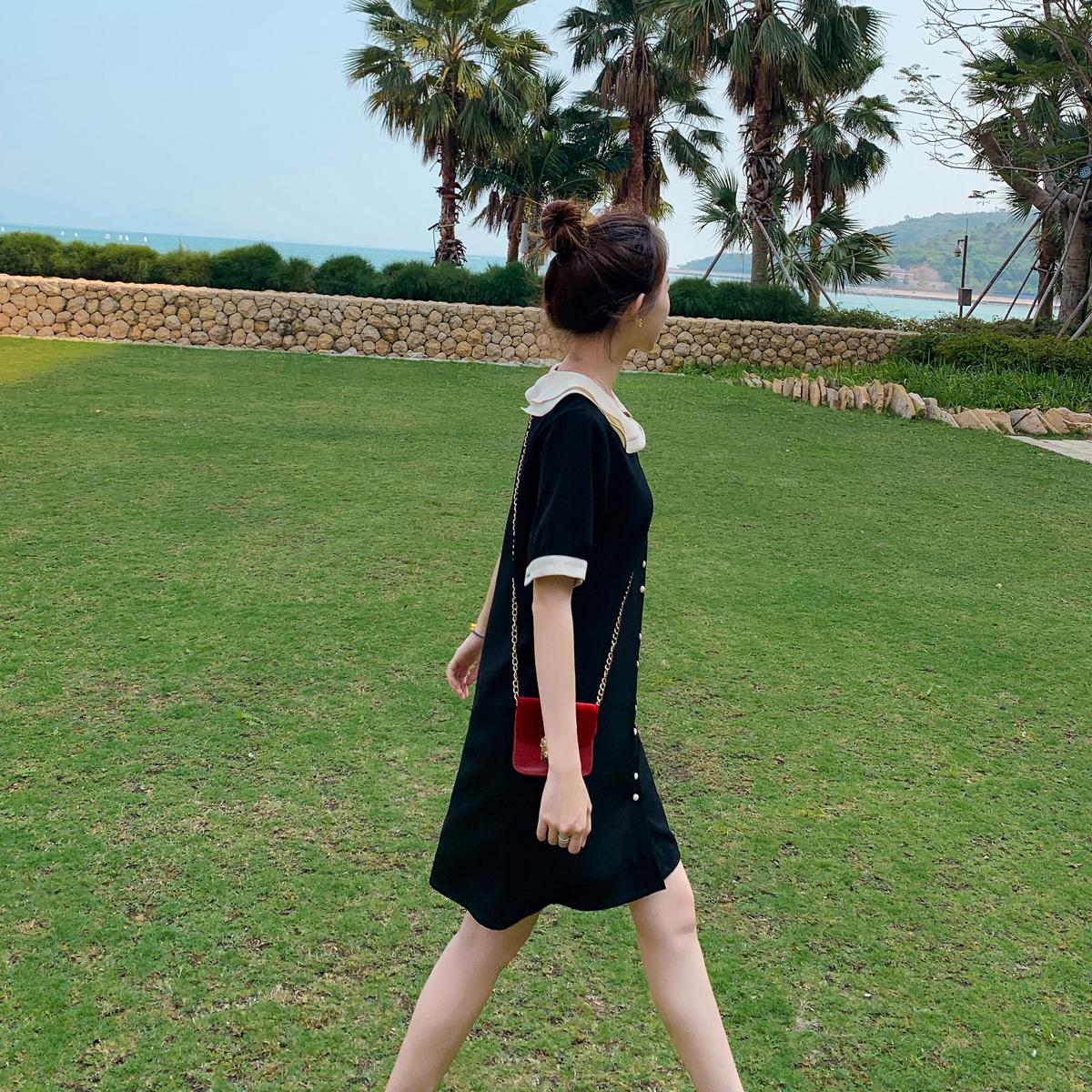 裙子女2019新款春夏法式桔梗裙初恋小个子娃娃领雪纺衬衫连衣裙秋
