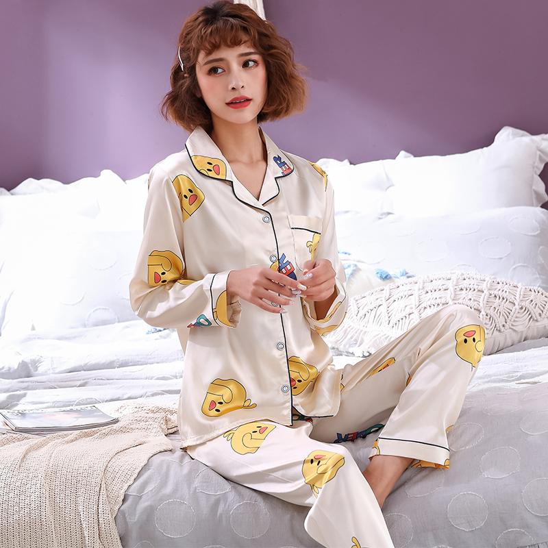 索妮洁女士家居服长袖春秋青年印花仿真丝绸夏季冰丝睡衣薄款套装
