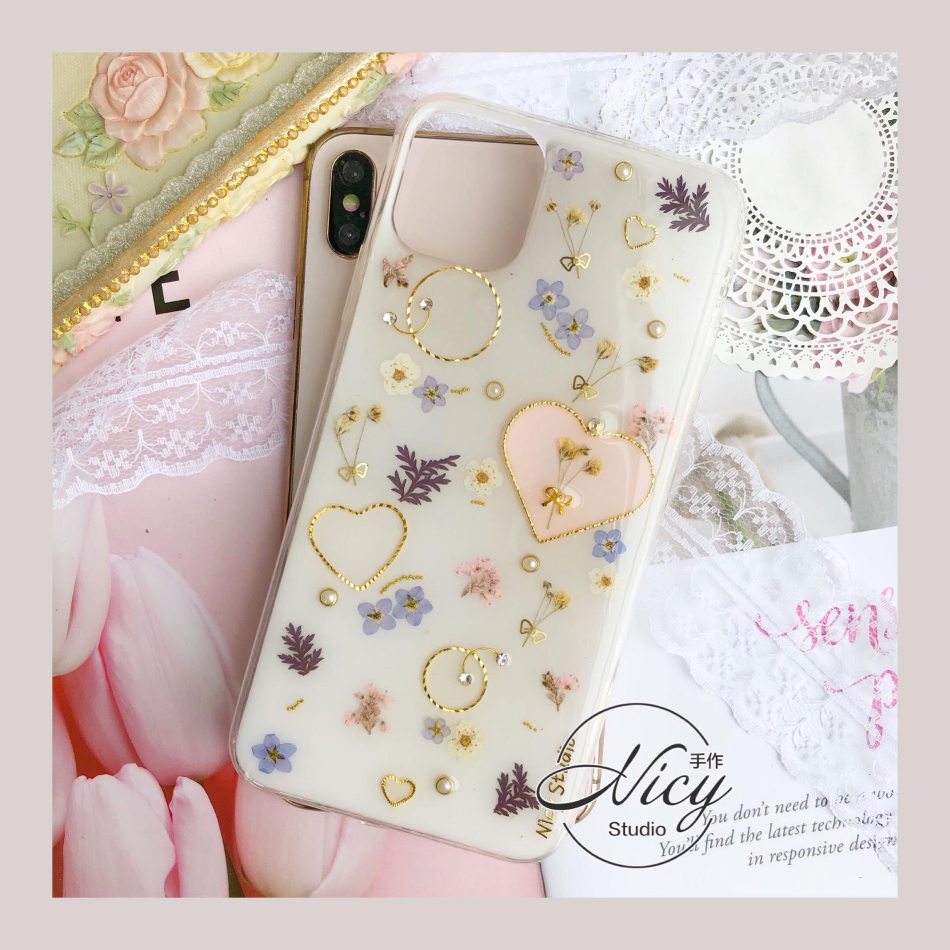 新品创意ins干花手机壳适用苹果11华为p40pro定制鲜花s20礼物小米