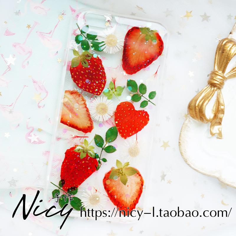 真草莓水果标本永生干花手机壳定制适用于苹果11pro华为三星s20+