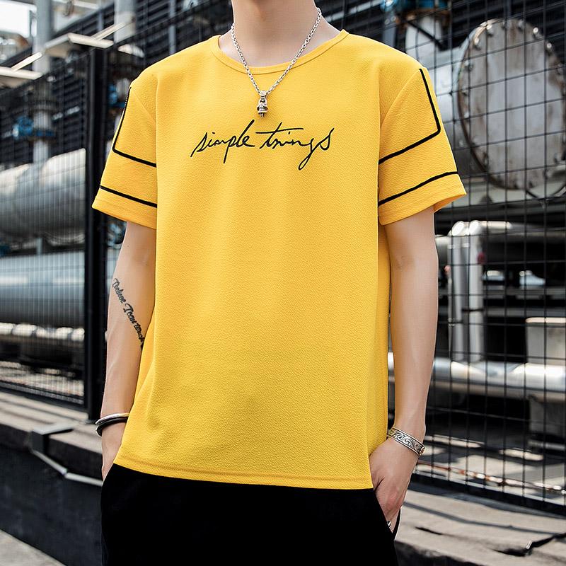 夏季短袖t恤男士韩版潮流宽松半截上衣2020新款潮牌半袖男装衣服