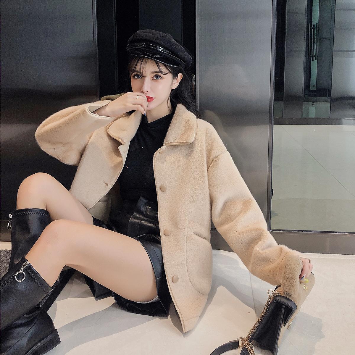 实拍现货冬新款韩版金貂绒皮毛一体短款仿貂毛小个子鹿皮绒外套女 -