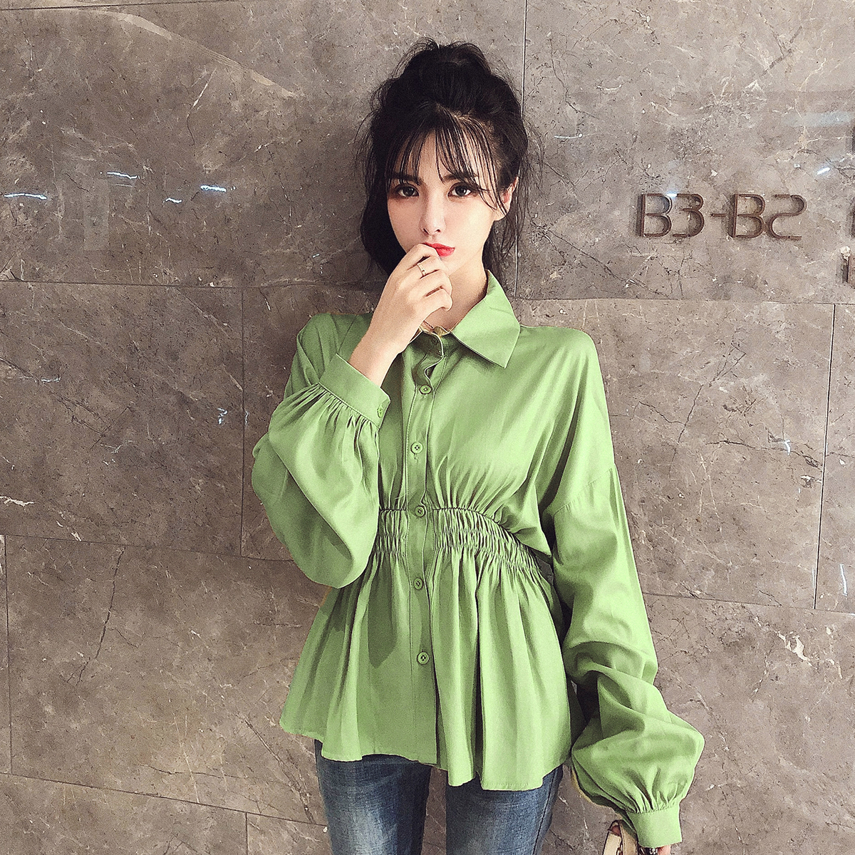 实拍现货初秋轻熟新款韩版宽松小个子超仙收腰显瘦上衬衫衣 -
