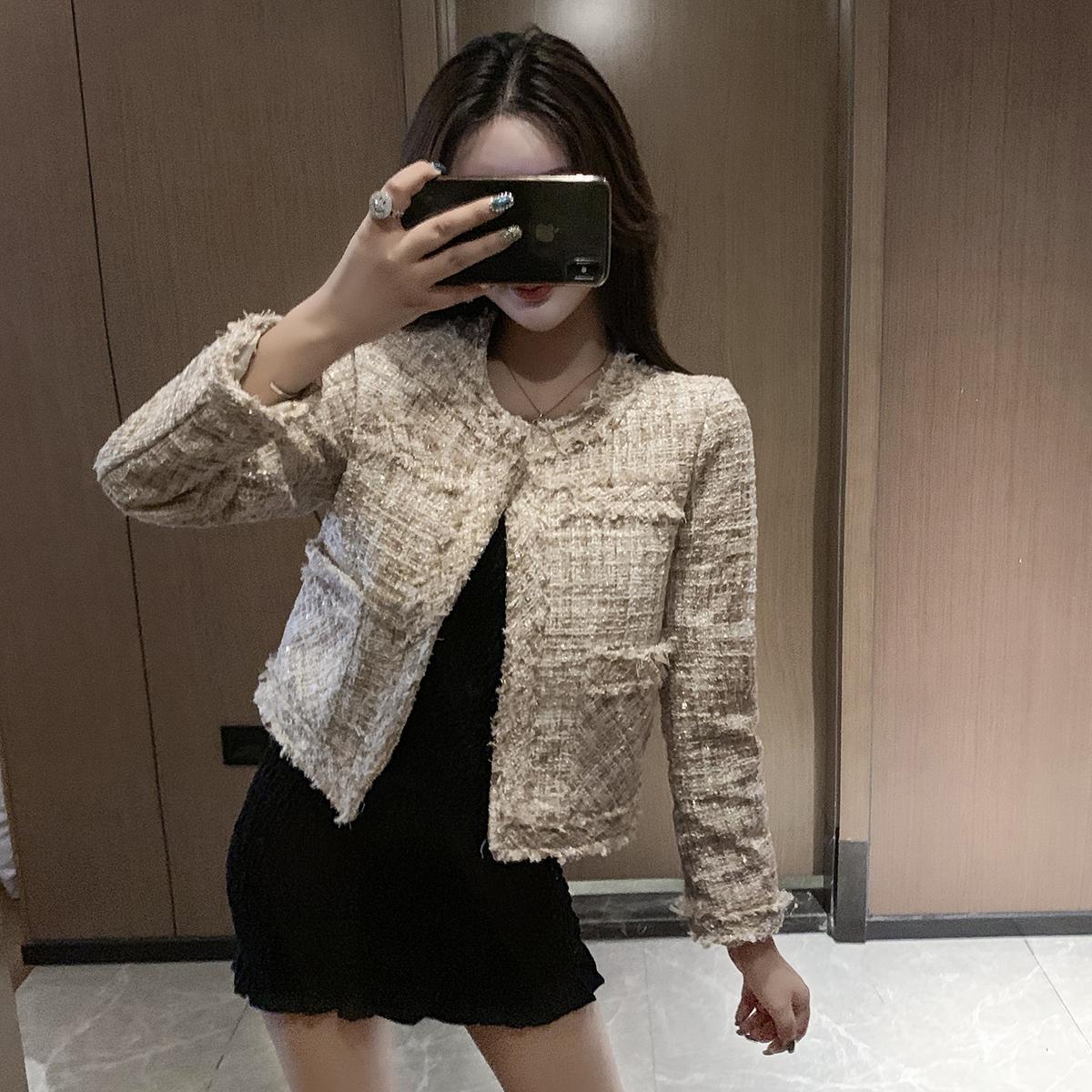 6537实拍现货秋季新款小香风短外套女长袖宽松韩版复古粗花呢开衫 -