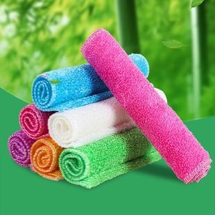 5条装竹纤维不沾油洗碗巾抹布厨房清洁巾5条装