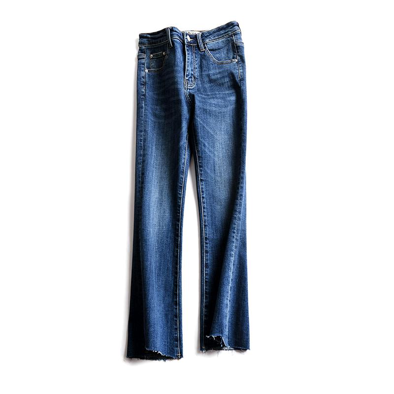 意大利订单 显瘦显高微喇裤修身弹力磨破裤口牛仔裤九分裤春新款