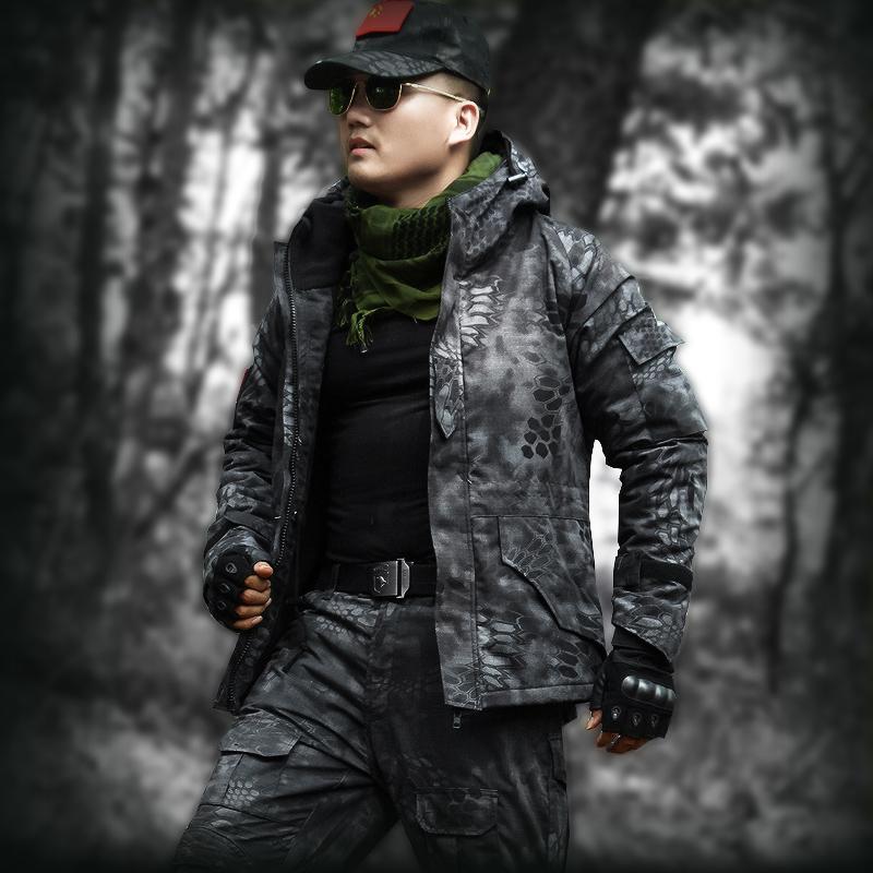 狼石冬季冲锋衣迷彩服男正品加绒加厚特种兵军装作战服套装军工服