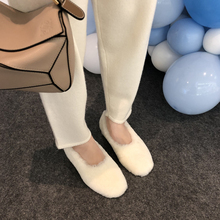 Fall and Winter 2019 New Cl Mid-heel Fur Shoes White Round Head Warm Shoes Single Shoes Low-heel Wool Winter Shoes