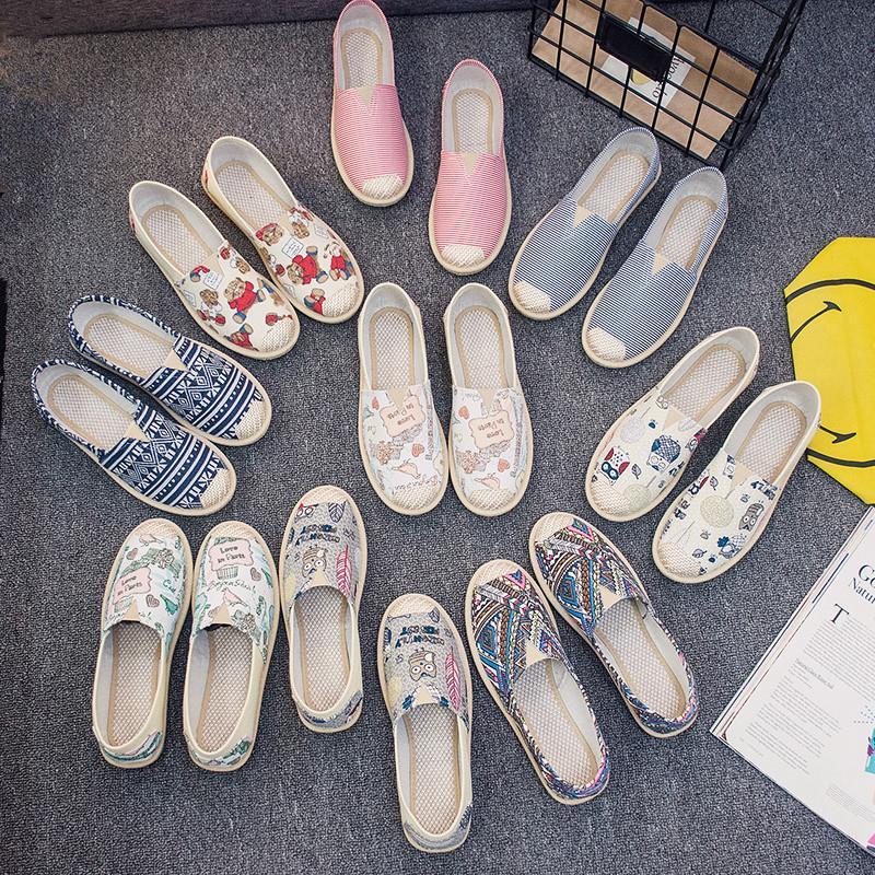 帆布鞋女秋季一脚蹬平底老北京布鞋女休闲透气渔夫韩版懒人单鞋子