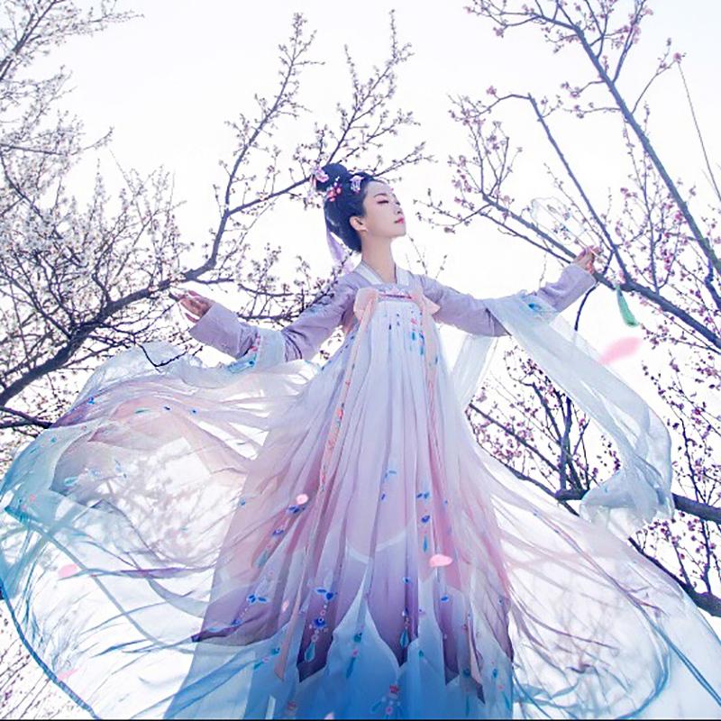 汉服女学生超仙中国风菩提雪古装女襦裙飘逸抖音同款汉服夏季仙气