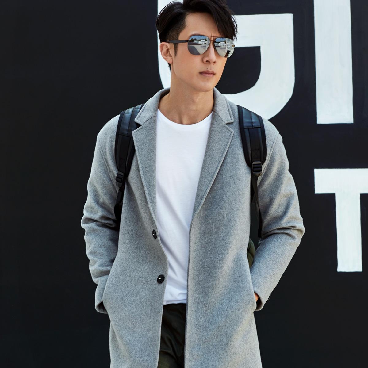 满送与狼共舞毛呢大衣2017秋季新款男装修身羊毛中长款外套8015