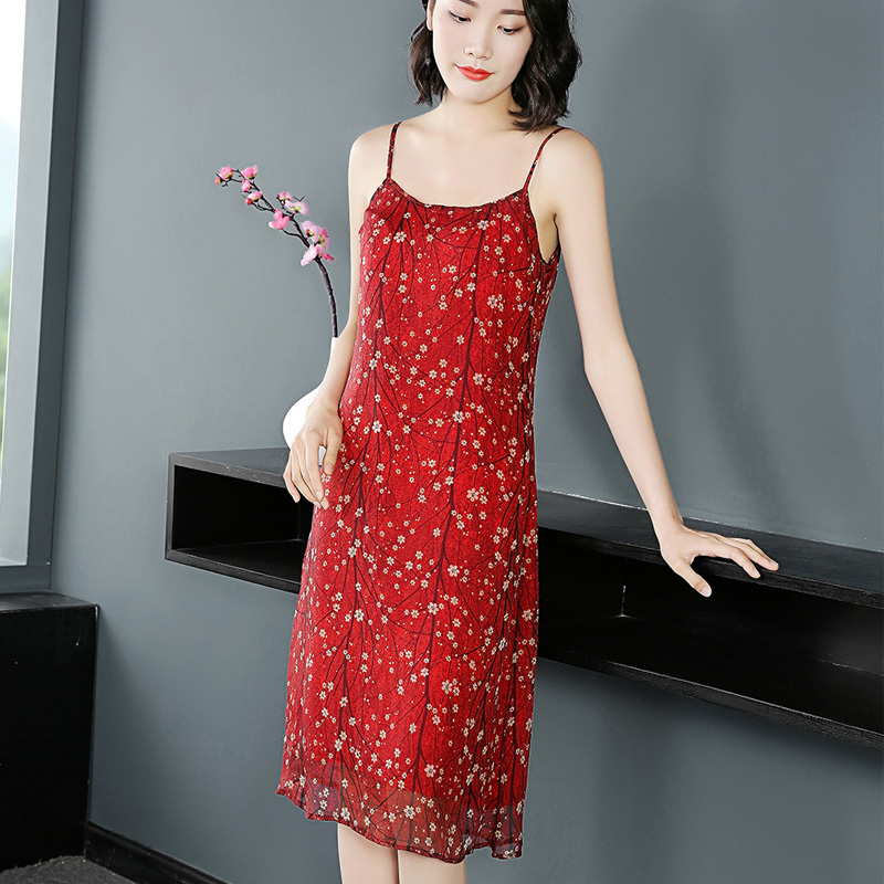 雪纺吊带背心女无袖中长款修身内搭打底裙外穿碎花连衣裙夏季大码