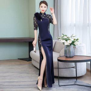 Cheongsam long elegant dress spring 2019 new Chinese style women retro retro cheongsam skirt evening dress