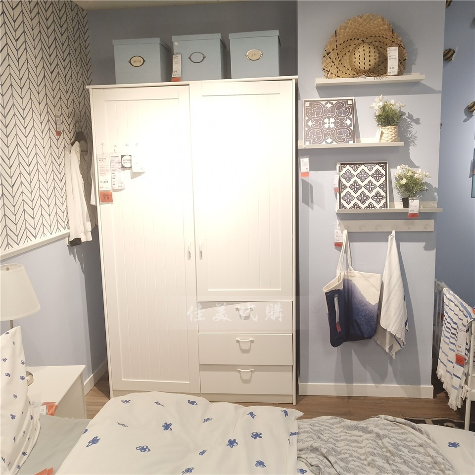 宜家代购穆斯肯平开2门双门衣柜衣橱储物柜简约现代IKEA国内代购